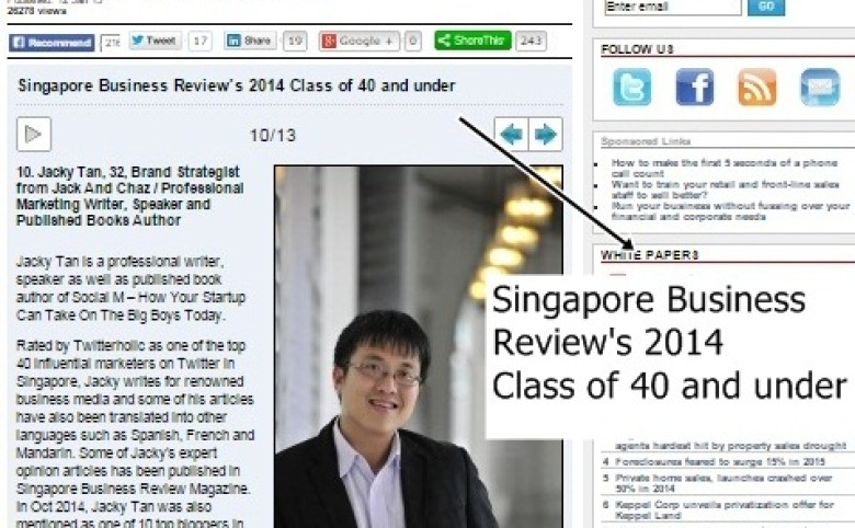 Featured as one of the top 13 influential professionals by Singapore Business Review
