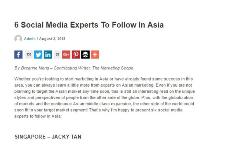 Recognised as One of the Top 6 Social Media Experts in Asia by The Marketing Scope